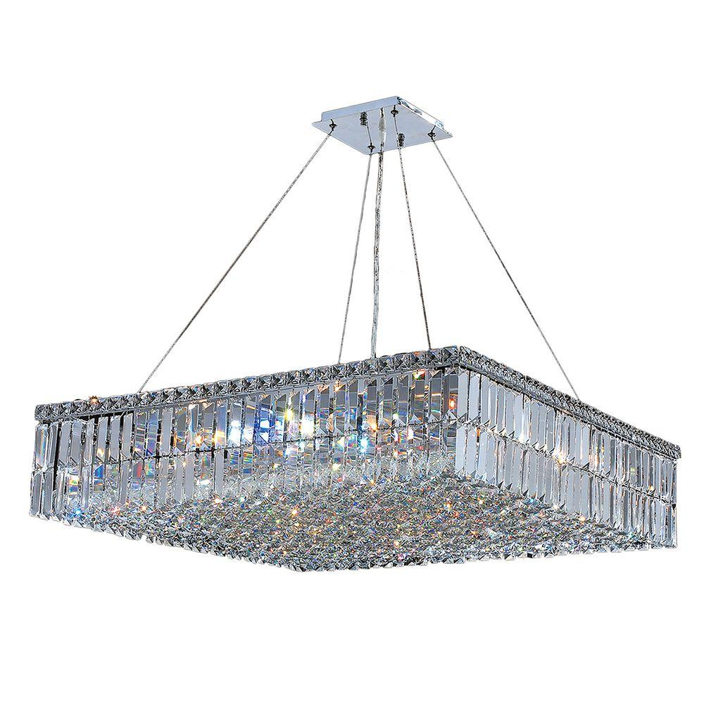 Worldwide Lighting Cascade Collection 12-Light Polished Chrome Chandelier with Clear Crystal