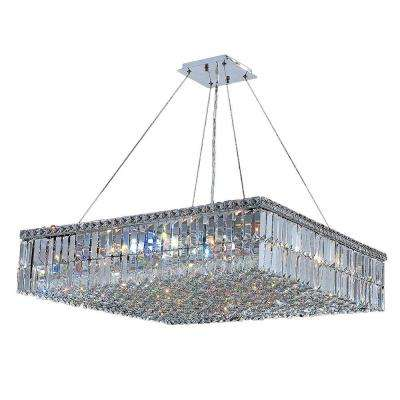Cascade Collection 12-Light Polished Chrome Chandelier with Clear Crystal