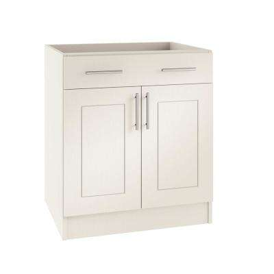 Assembled 24x34.5x24 in. Palm Beach Open Back Outdoor Kitchen Base Cabinet with 2 Doors and 1 Drawer in Radiant White