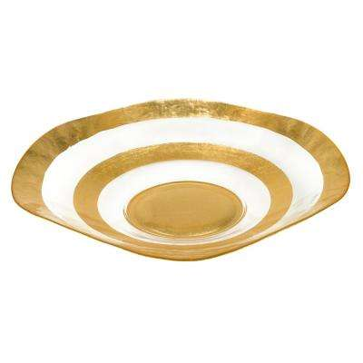 16 in. Dia Round Leaf Wave Bowl in Gold