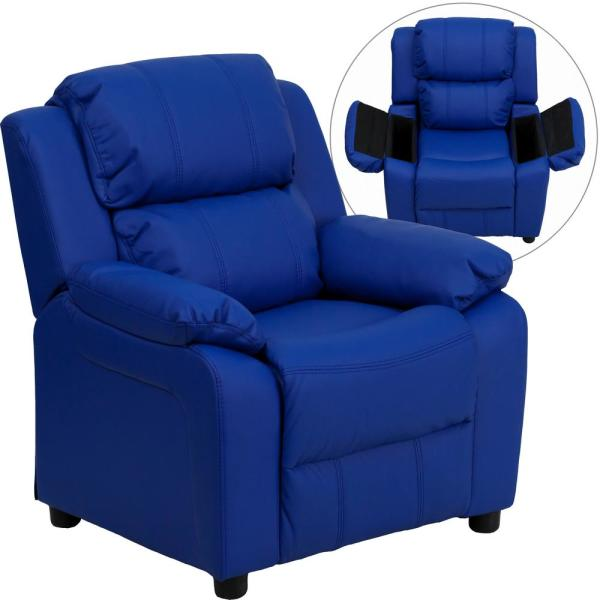 Flash Furniture Deluxe Padded Contemporary Blue Vinyl Kids Recliner with Storage