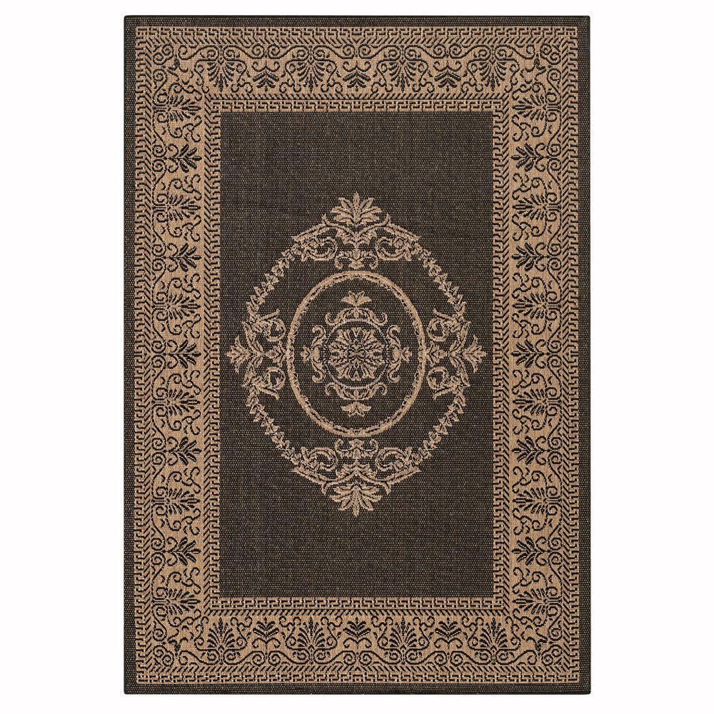 Antique Medallion Black and Cocoa 1 ft. 8 in. x 3