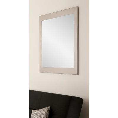 Large Rectangle Silver Hooks Modern Mirror (50 in. H x 32 in. W)