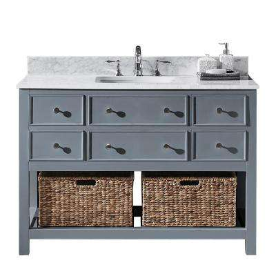 Elodie 48 in. W x 22 in. D x 34.21 in. H Bath Vanity in Cashmere Grey with Marble Vanity Top in White with White Basin