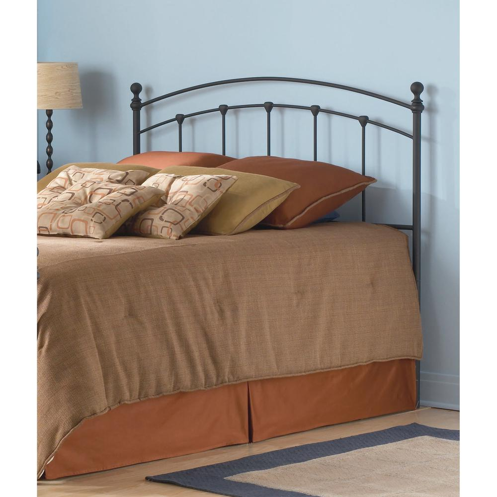 fashion bed group sanford twin size metal headboard with castings and round finial posts in. Black Bedroom Furniture Sets. Home Design Ideas