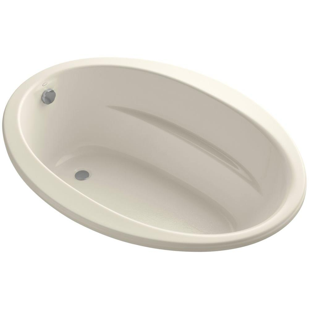 KOHLER Sunward 5 ft. Reversible Drain Soaking Tub in Almond with ...