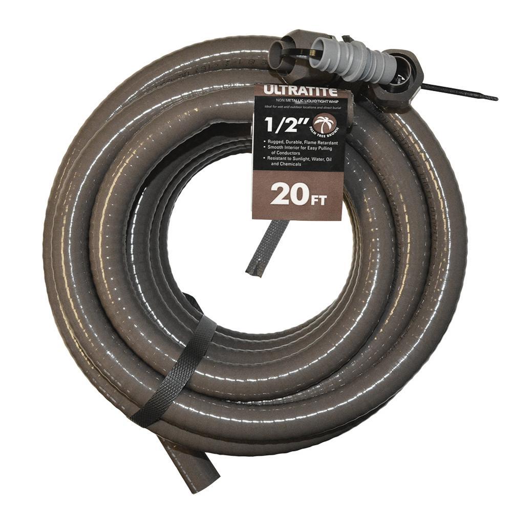 1/2 in. x 20 ft. Ultratite Liquidtight Flexible Non-Metallic PVC Conduit with 2 Straight Fittings