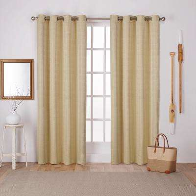 Virenze Mello Yellow Faux Silk Grommet Top Window Curtain