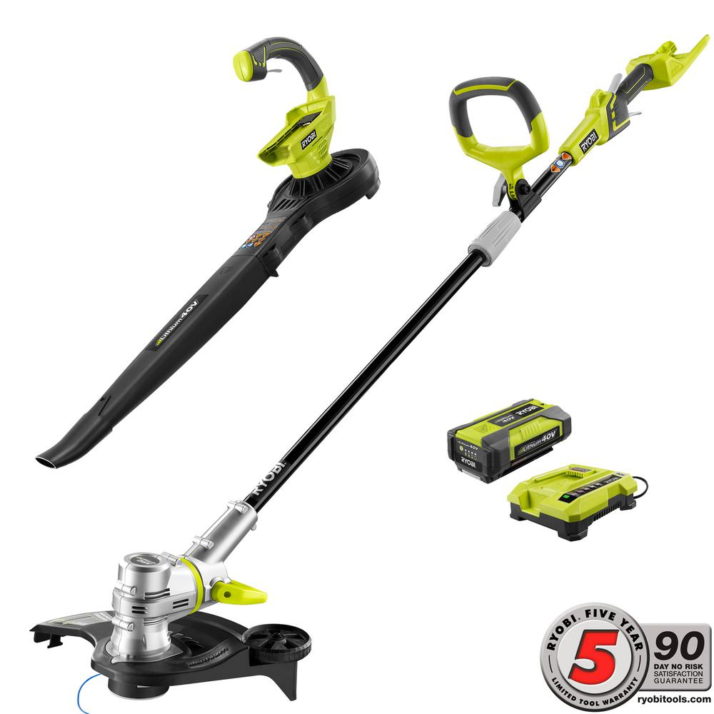Ryobi 40-Volt Lithium-Ion Cordless Trimmer/Edger and Blower/Sweeper Combo Kit - 1.5 Ah Battery and Charger Included