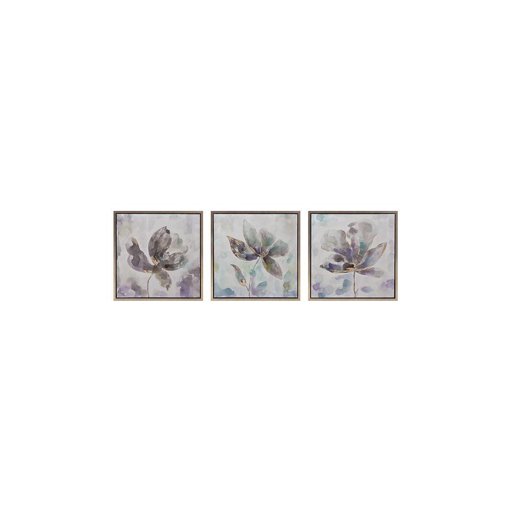 """24 in. x 24 in. """"Pastel Flowers"""" 3-Piece Framed Wall Art"""