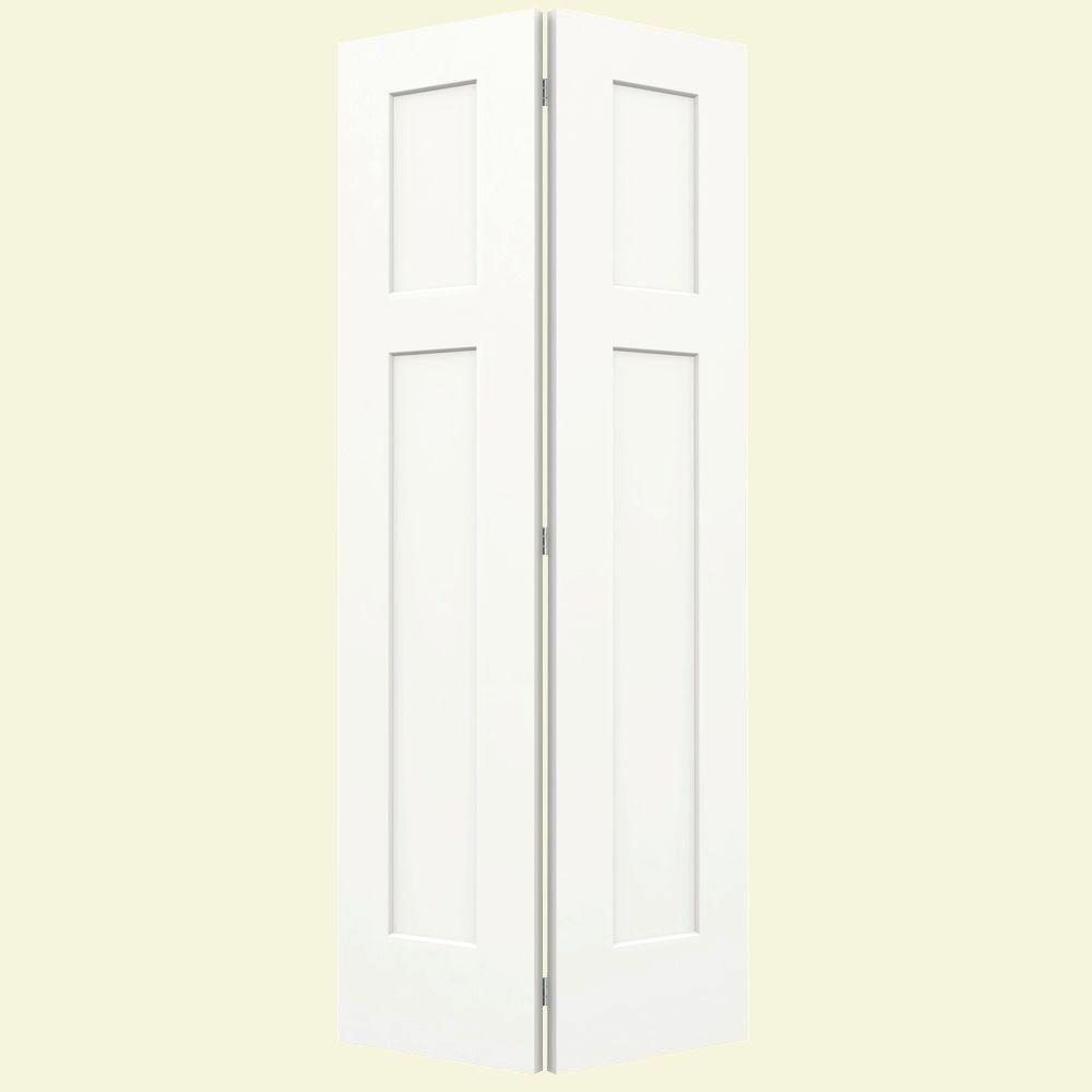 36 in. x 80 in. Craftsman White Painted Smooth Molded Composite