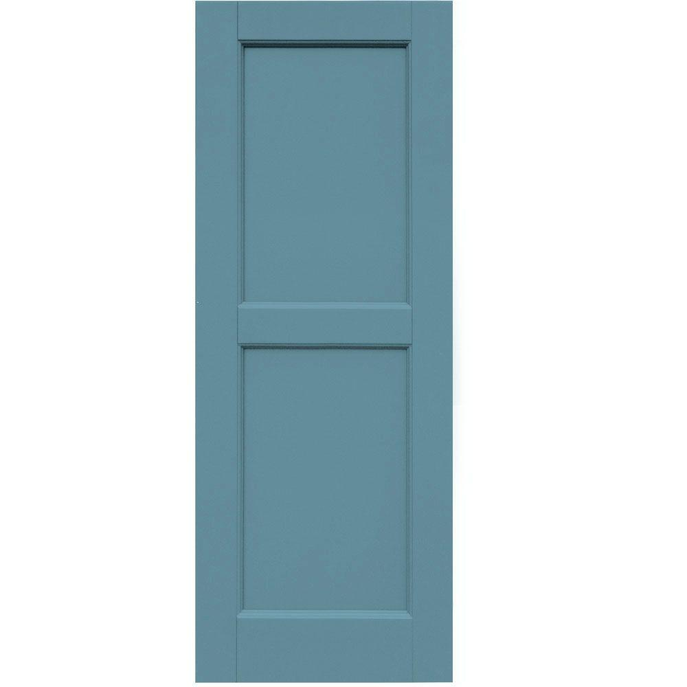 Winworks Wood Composite 15 in. x 40 in. Contemporary Flat Panel Shutters Pair #645 Harbor