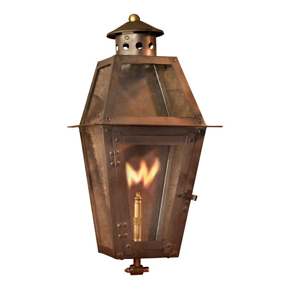 Titan Grand Isle Washed Pewter Gas Outdoor Wall Lantern