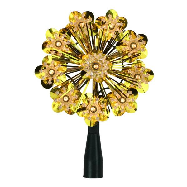 5.5 in. Gold Tinsel Snowflake Starburst Christmas Tree Topper with Clear Lights
