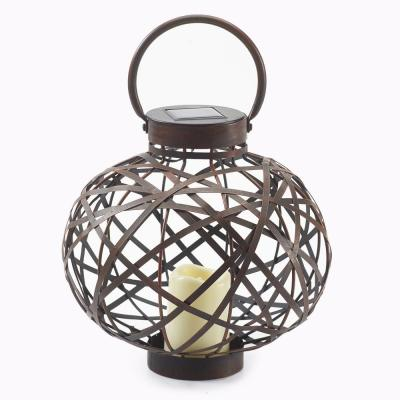 Meuron 13.5 in. Bronze 1-Light Integrated LED Solar Candle Lantern