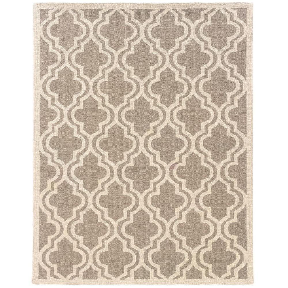 Linon Home Decor Silhouette Quatrefoil Grey And White 5 Ft X 7 Ft