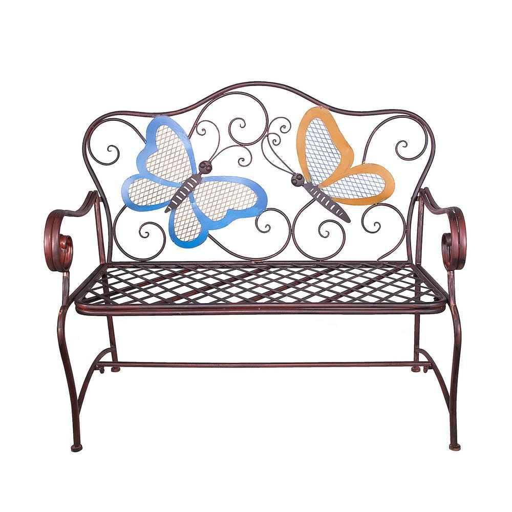 Alpine Corporation 45'' x 23'' Outdoor 2-Person Butterfly Garden Bench