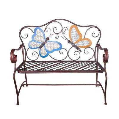 45 in. x 23 in. Outdoor 2-Person Butterfly Garden Bench