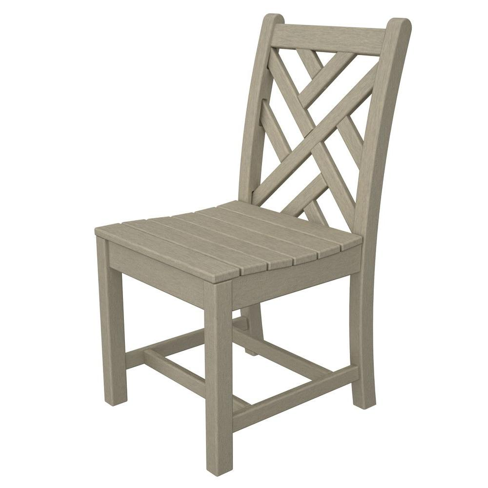 chippendale side chair. POLYWOOD Chippendale Sand All-Weather Plastic Outdoor Dining Side Chair N