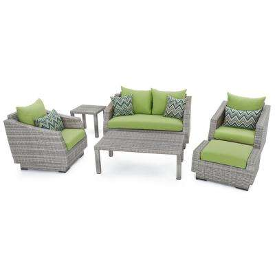 Cannes 6-Piece Loveseat Patio Deep Seating Set with Ginkgo Green Cushions