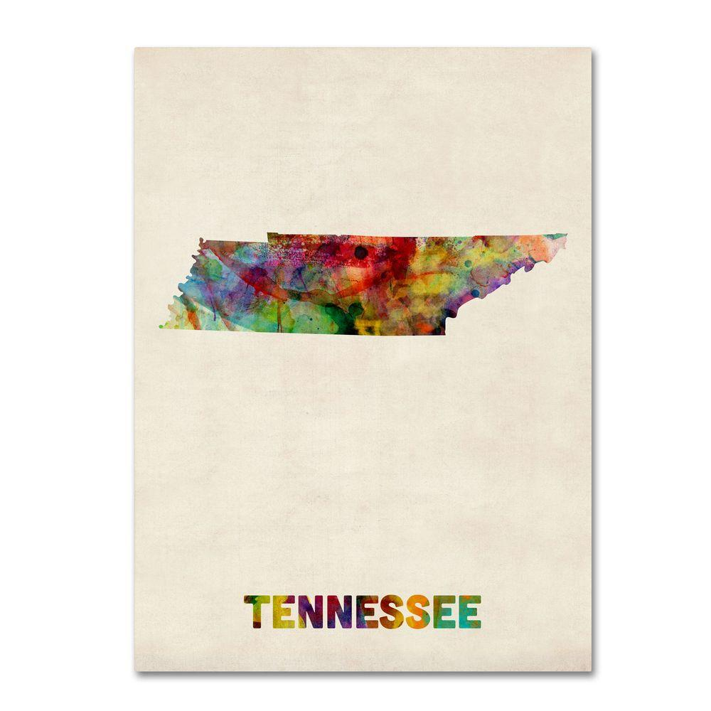 24 in. x 32 in. Tennessee Map Canvas Art