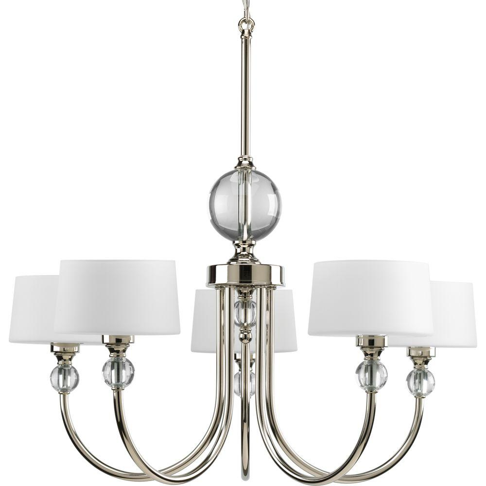 Progress Lighting Fortune Collection 5 Light Polished Nickel Chandelier With Shade Opal Etched Glass P4674 104 The Home Depot