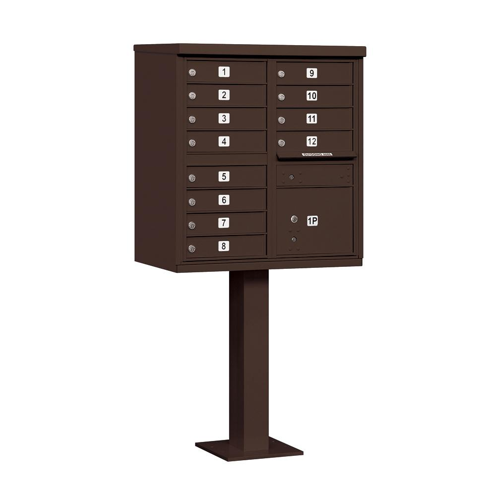 Salsbury Industries Bronze USPS Access Cluster Box Unit with 12 A Size Doors and Pedestal
