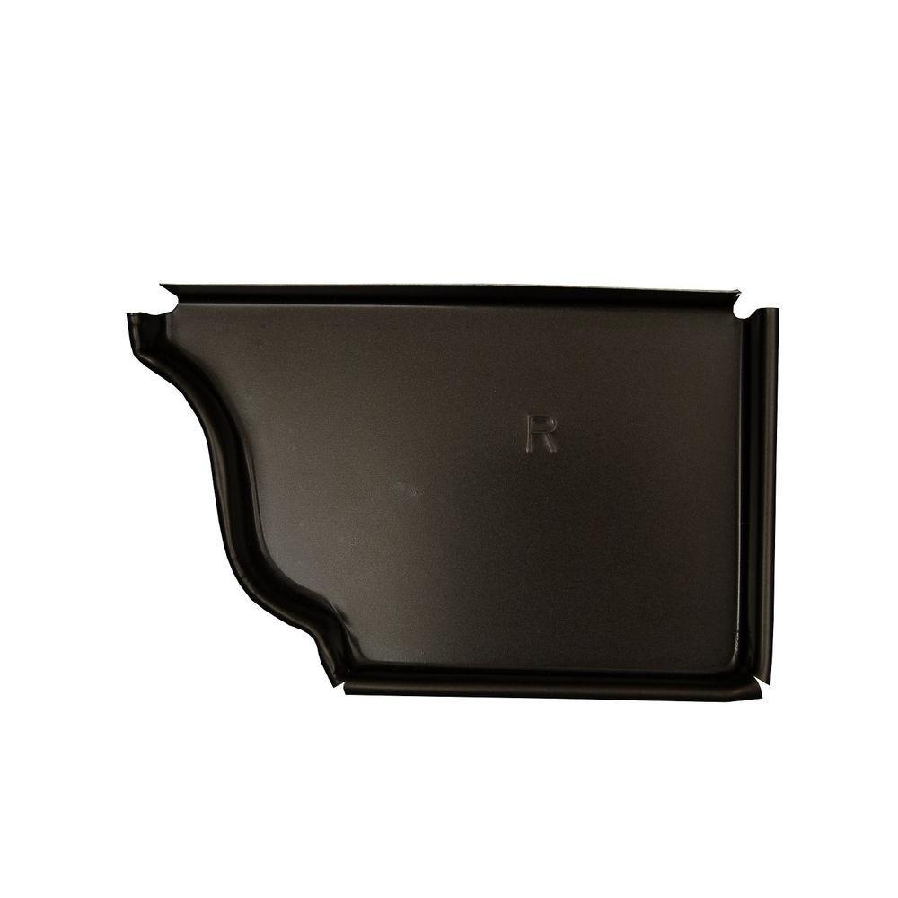 Amerimax Home Products 6 in. Dark Bronze Aluminum Right End Cap
