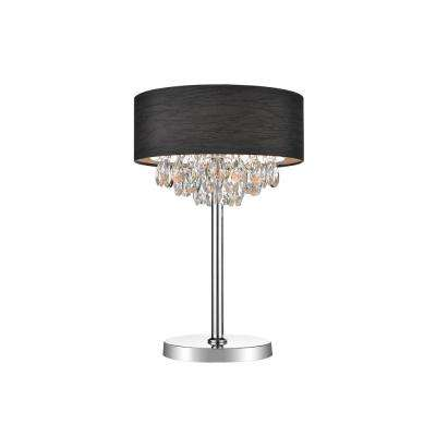 Dash 24.5 in. Chrome Table Lamp with Black Shade