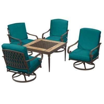 Oak Cliff Brown 5-Piece Steel Outdoor Patio Fire Pit Conversation Seating Set with Sunbrella Peacock Blue-Green Cushions
