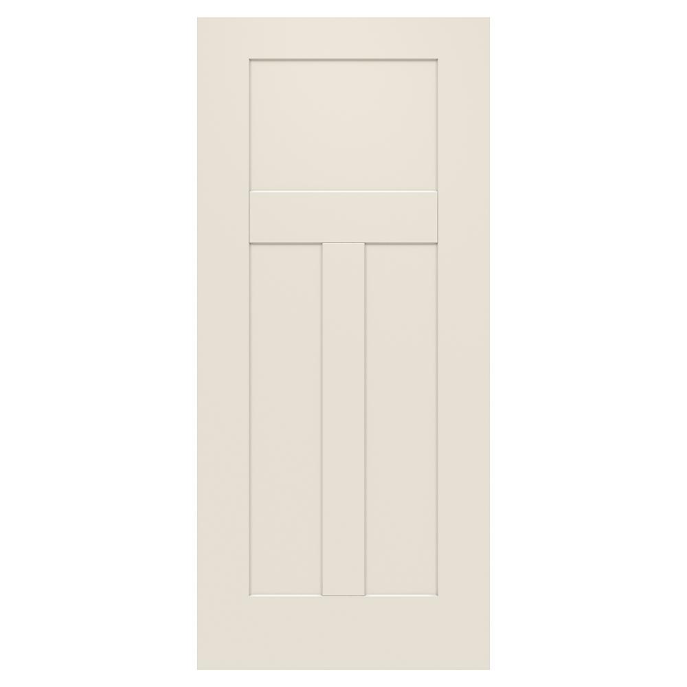 3 panel craftsman primed steel front door slab