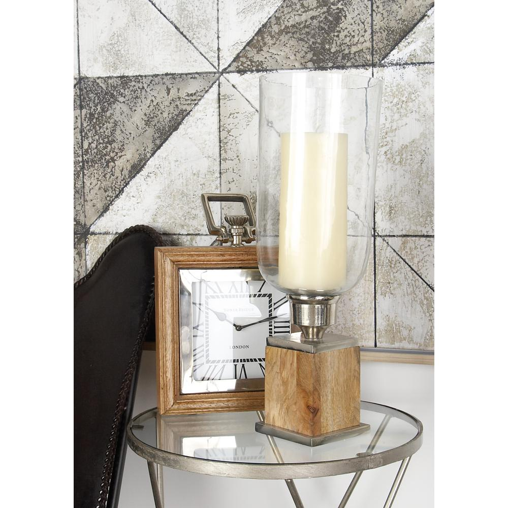 21 in. Wood and Glass Hurricane Candle Holder
