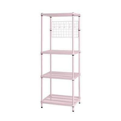 MeshWorks 4-Shelf Metal Blush Pink Freestanding Utility Grid Unit