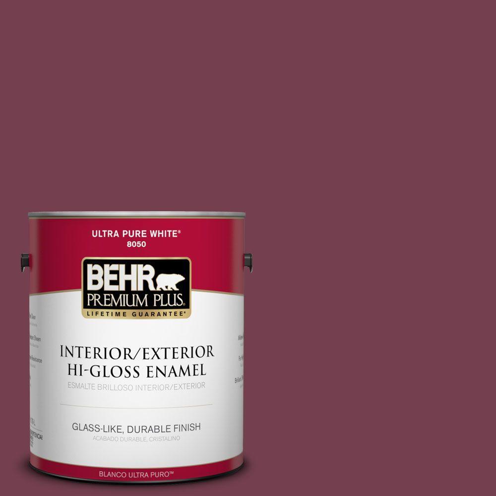 BEHR Premium Plus 1-gal. #T11-4 Blood Rose Hi-Gloss Enamel Interior/Exterior Paint
