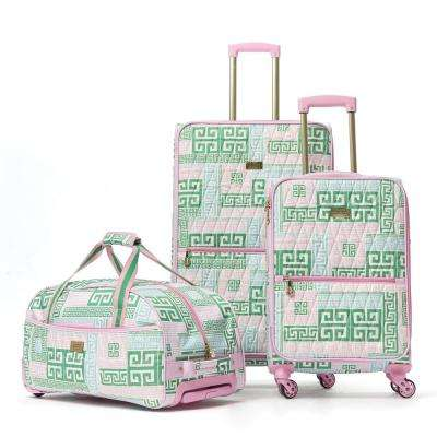Prep Set 3-Piece Green and Pink Luggage Set