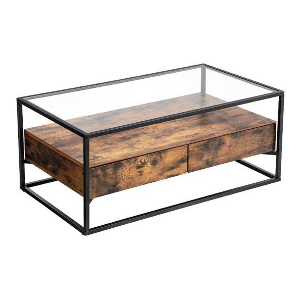 Benjara Brown And Black Iron Framed Coffee Table With Tempered