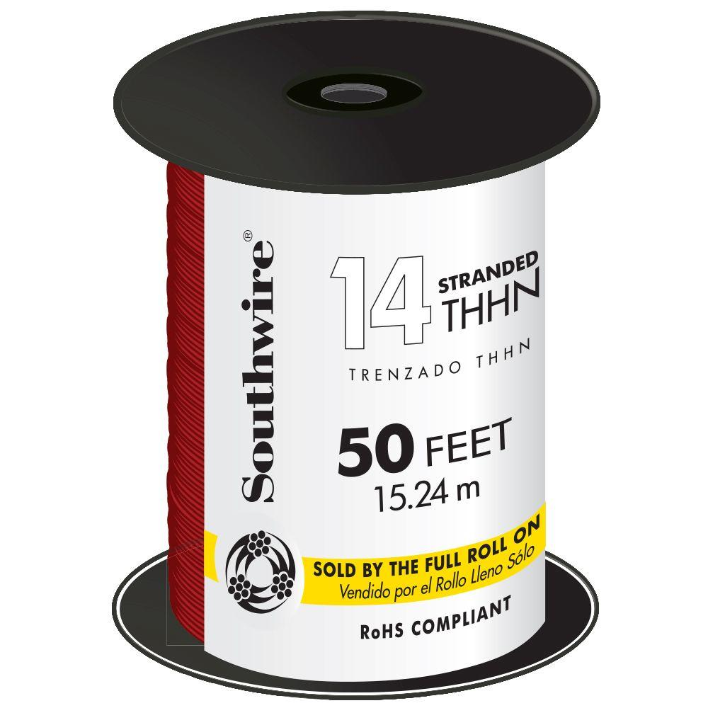 Southwire 50 ft. 14-Gauge Red Stranded CU THHN Wire-22957551 - The ...