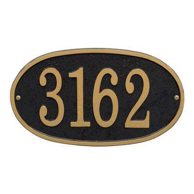 Fast and Easy Oval House Number Plaque, Black/Gold