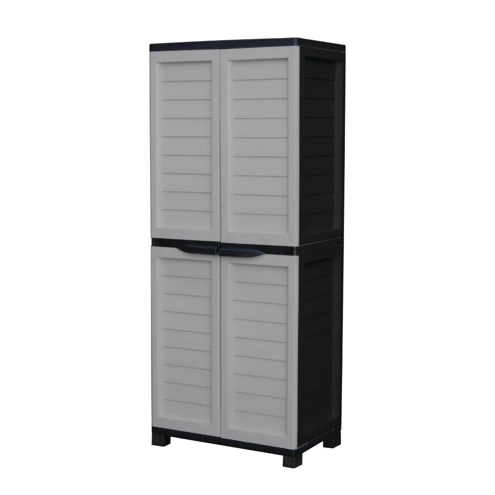 Starplast 2 ft  5 in  x 1 ft  8 in  x 5 ft  11 in  Plastic Silver/Black  Storage Cabinet with 4-Shelves and Vertical Partition