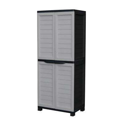 2 ft. 5 in. x 1 ft. 8 in. x 5 ft. 11 in. Plastic Silver/Black Storage Cabinet with 4-Shelves and Vertical Partition
