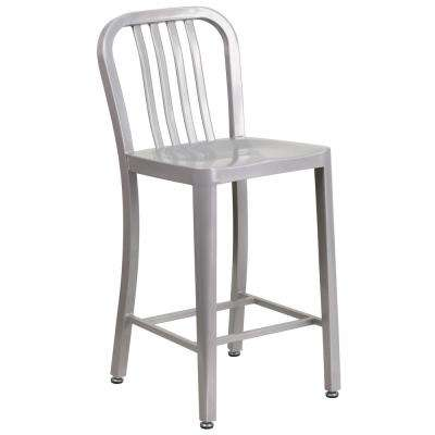 24.5 in. Silver Bar Stool