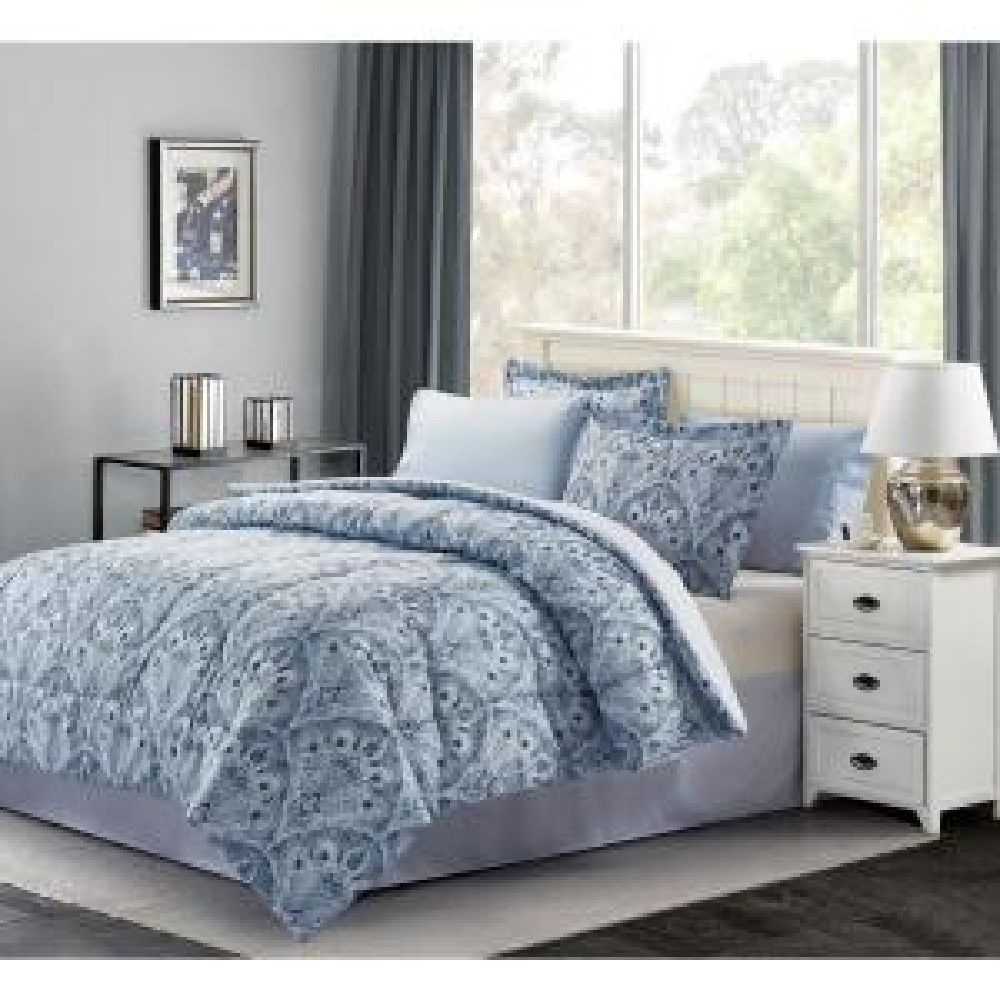Brown Grey Louis 8 Piece Blue Queen Bed In A Bag Set