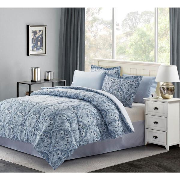 Brown & Grey Louis 6 Piece Blue Twin Bed in a Bag Set BG16LUBL1