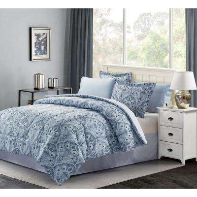 Louis Blue Queen 8-Piece Bed-In-Bag Set