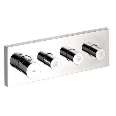 Axor Starck 4-Handle Thermostatic Valve Trim Kit with 3 Volume Control in Chrome (Valve Not Included)
