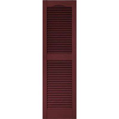 15 in. x 52 in. Louvered Vinyl Exterior Shutters Pair in #078 Wineberry