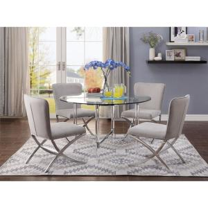Acme Furniture Daire Chrome And Clear Gl Dining Table