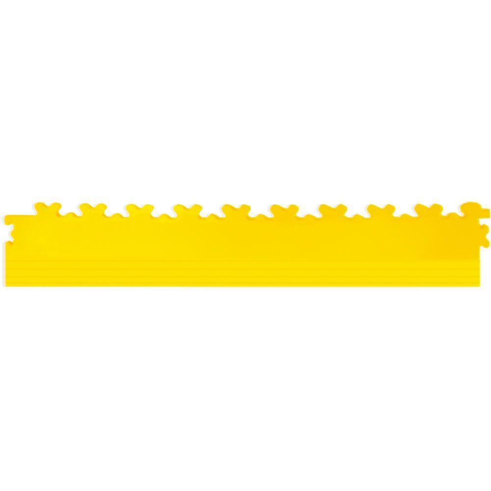 IT-tile 20-1/2 in. x 2-1/2 in. Diamond Plate Yellow PVC Tapered Interlocking Multi-Purpose Flooring Tile Edges (4-Pack)