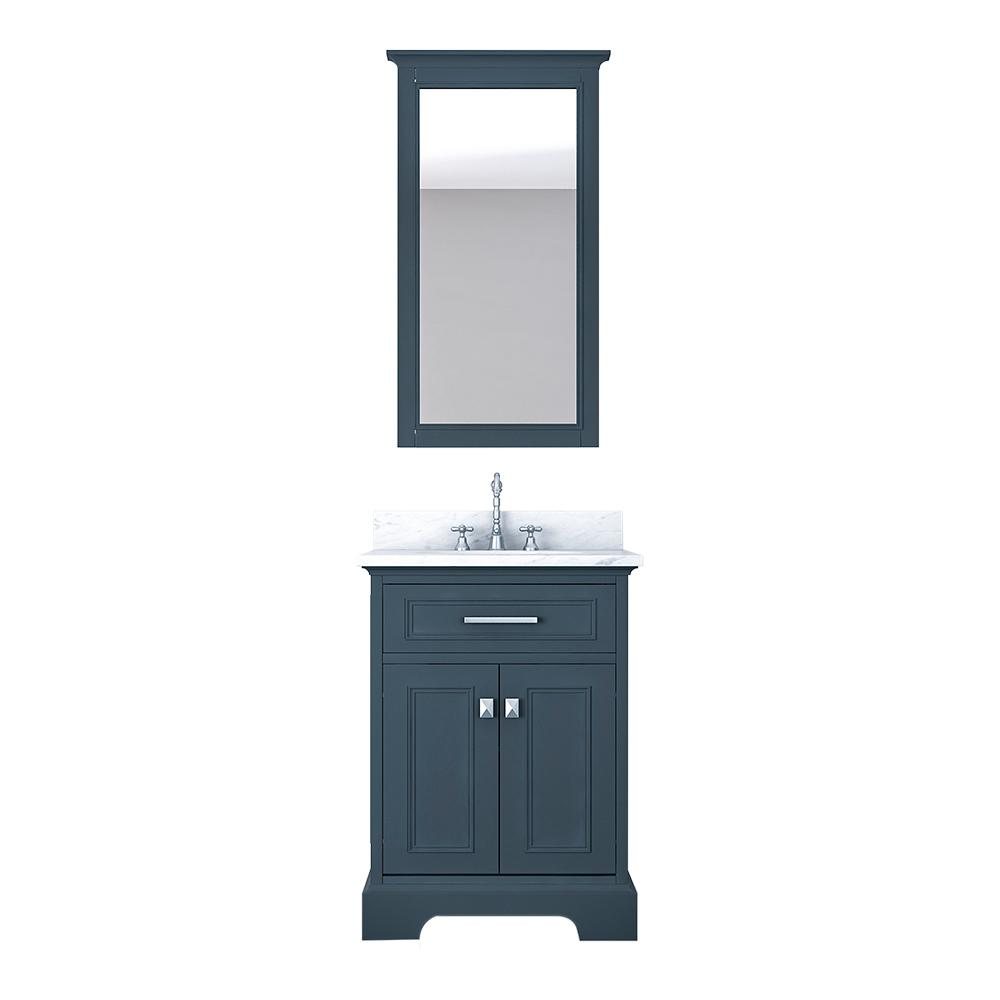 Design Element Laxton 25 in. W x 22 in. D Bath Vanity in Gray with Marble Vanity Top in White with White Basin and Mirror