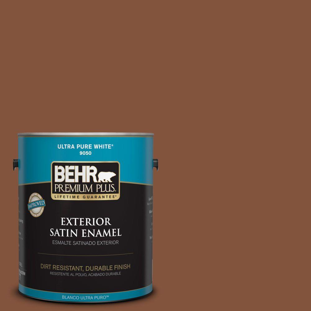 BEHR Premium Plus 1-gal. #230F-7 Florence Brown Satin Enamel Exterior Paint